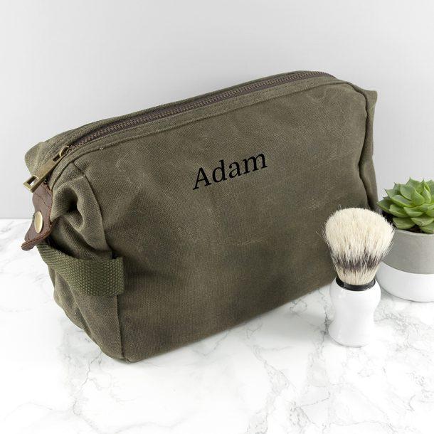 Personalised Men's Vintage Green Wash Bag