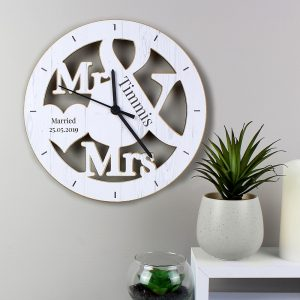 Personalised Mr & Mrs Shape Wooden Clock