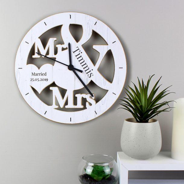 Personalised Mr & Mrs Shape Wooden Clock