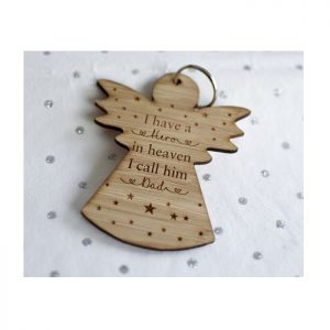 Personalised My Hero In Heaven Angel Keyring