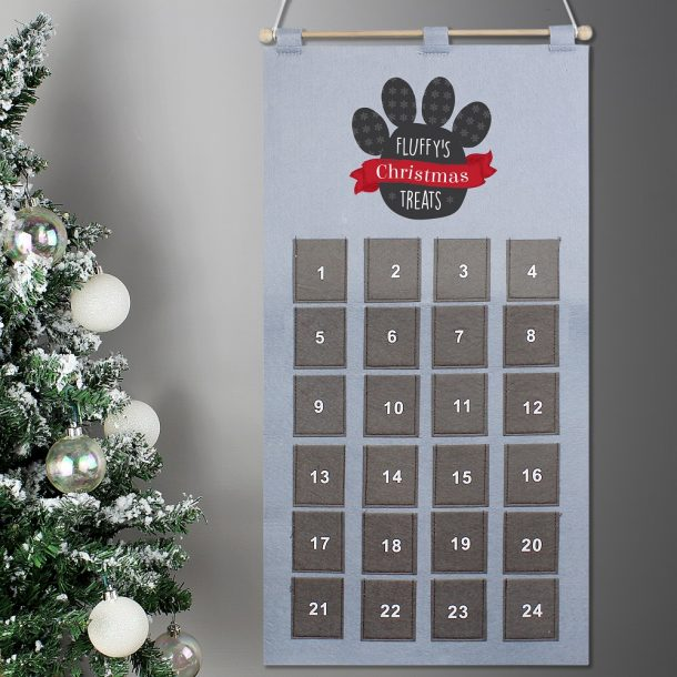 Personalised Pet Advent Calendar In Silver Grey