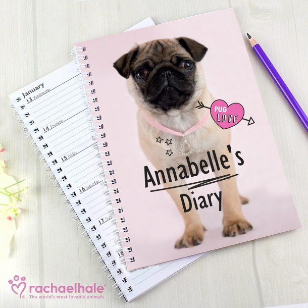 Personalised Rachael Hale Doodle Pug A5 Diary