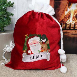 Personalised Red Christmas Santa Pom Pom Sack