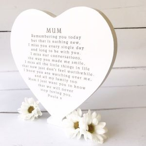 Personalised Remembering You Today Freestanding Heart