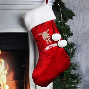 Personalised Retro Reindeer Luxury Stocking