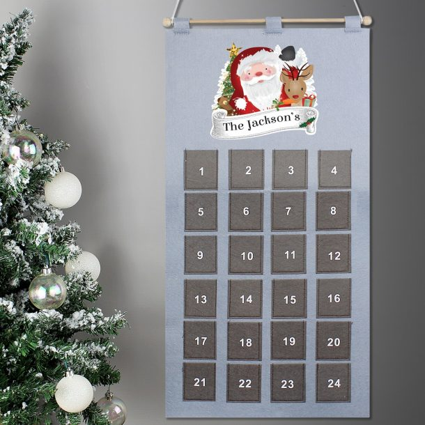Personalised Santa Advent Calendar In Silver Grey