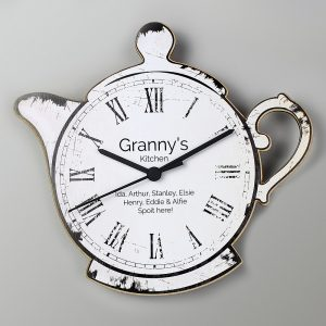 Personalised Teapot Shape Wooden Clock