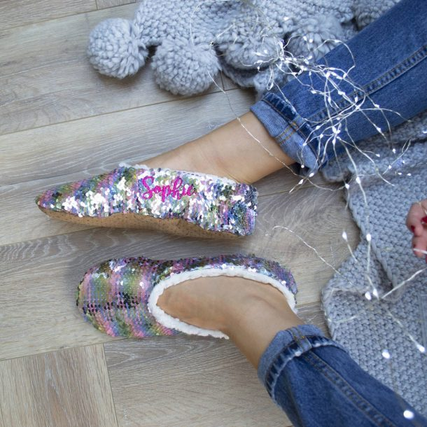 Personalised Two Tone Sequin Slippers
