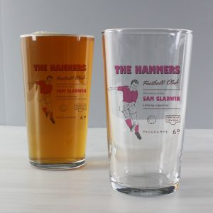 Personalised Vintage Claret Football Pint Glass