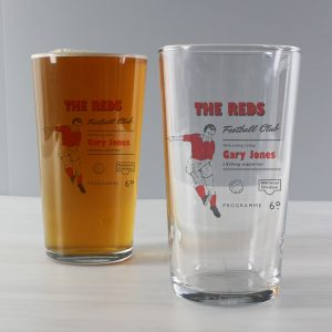 Personalised Vintage Football Red Pint Glass