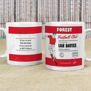 Personalised Vintage Football Red & White Supporter's Mug