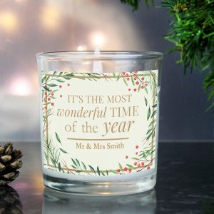 Personalised Wonderful Time of The Year Christmas Scented Jar Candle