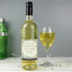 Personalised Wonderful Time of The Year Christmas White Wine