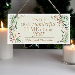 Personalised Wonderful Time of The Year Christmas Wooden Sign