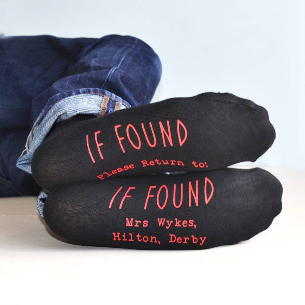 If Found Personalised Socks