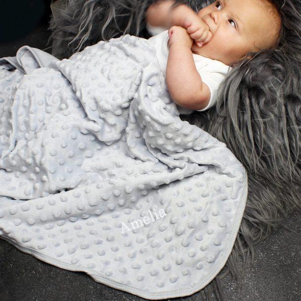 Personalised Luxury Grey Baby Blanket