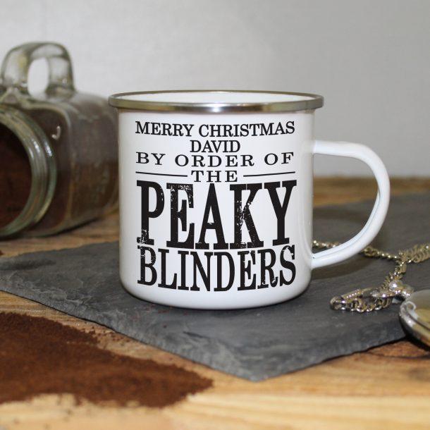 Personalised Peaky Blinders Enamel Christmas Mug