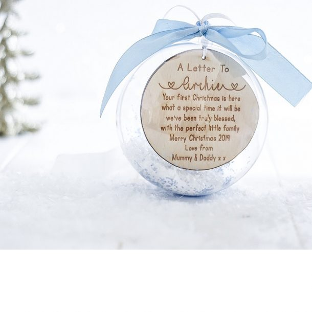 Personalised A Letter On Your First Christmas Bauble