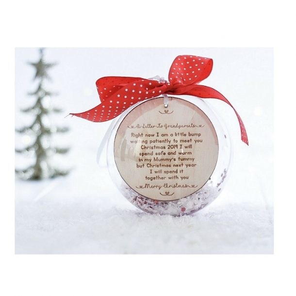 Personalised A Letter To My Grandparents Baby Bump 10cm Bauble