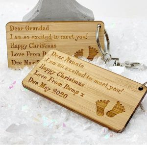 Personalised Dear Grandparents I Am So Excited To Meet You Christmas Keyring