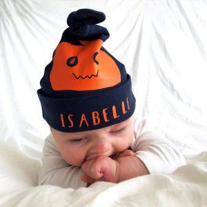 Personalised Halloween Pumpkin Baby Hat