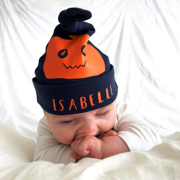 Personalised Halloween Pumpkin Baby Hat