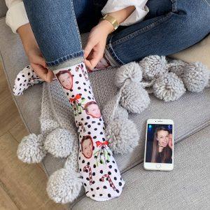 Personalised Mistletoe Photo Socks