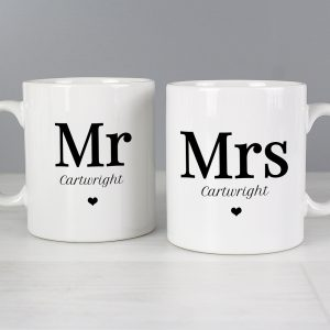 Personalised Mr & Mrs Love Heart Mug Set