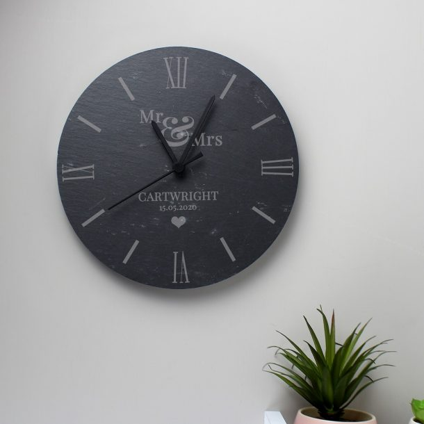 Personalised Mr & Mrs Love Heart Slate Clock