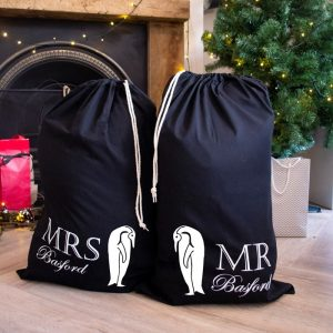 Personalised Mr and Mrs Penguin Set of Sacks