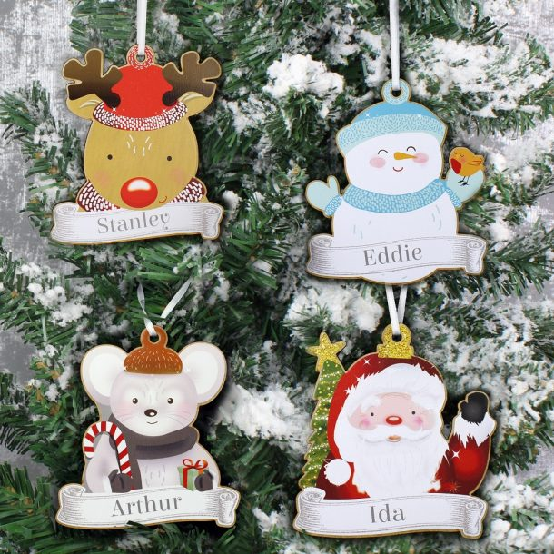 Personalised Set of Four Colourful Christmas Characters Wooden Decorations