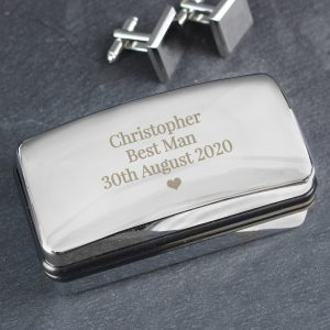 Personalised Single Heart Cufflink Box