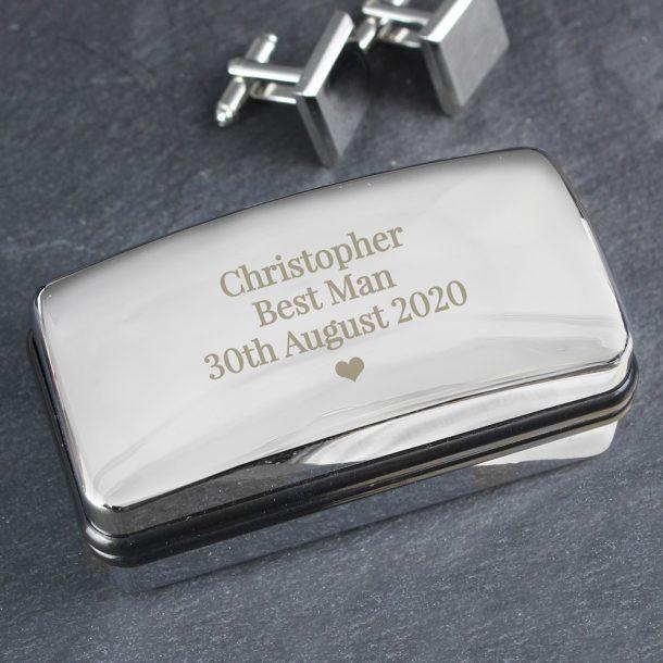 Personalised Single Heart Cufflink Box