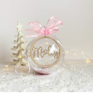 Personalised Wooden Christmas Star & Bauble Wooden Wreath