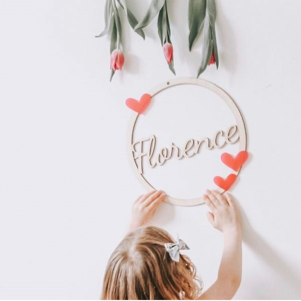 Personalised Wooden Hoop Sign With Acrylic Hearts