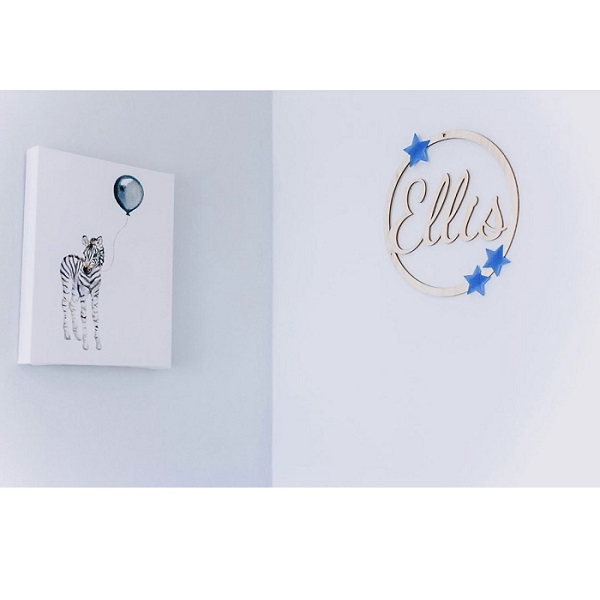 Personalised Wooden Hoop Sign With Acrylic Stars