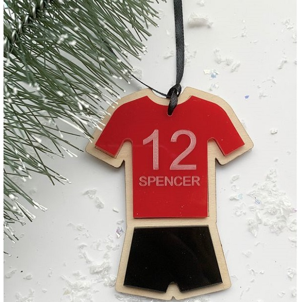 Football Kit Personalised Wood & Acrylic Hanging Decoration