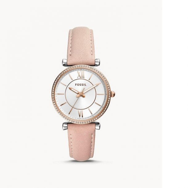 Fossil Carlie Blush Leather Watch