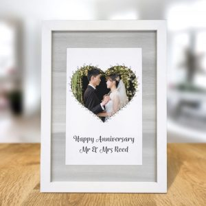 Personalised Heart Photo Upload A4 Framed Print