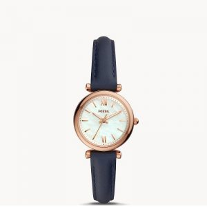 Ladies Fossil Carlie Navy Leather Watch