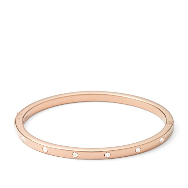 Ladies Fossil Rose Gold Crystal Bangle