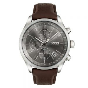 Men's Hugo Boss Brown Leather Grand Prix Watch