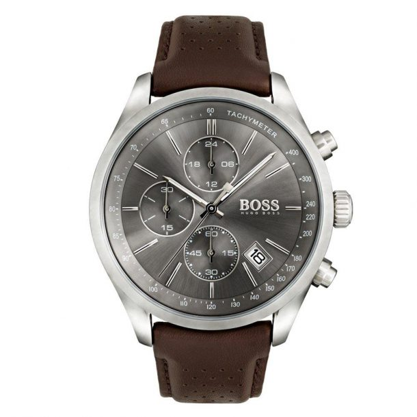 Men's Hugo Boss Brown Leather Grand Prix Watch
