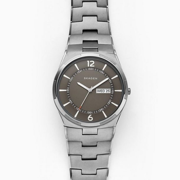 Men's Skagen Melbye Gunmetal Steel-Link Watch