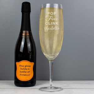 Personalised Pop Fizz Clink Bottle Of Prosecco Glass