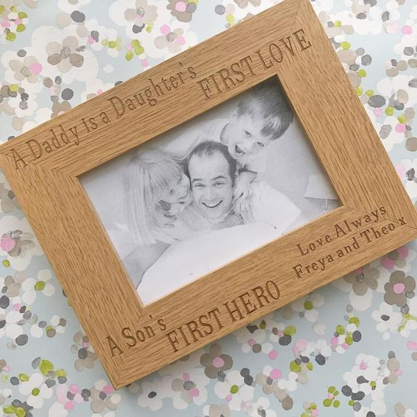 Personalised First Hero, First Love Wooden Frame
