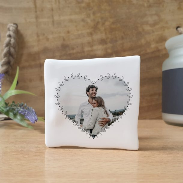 Personalised Heart Photo Upload Bone China Message Card