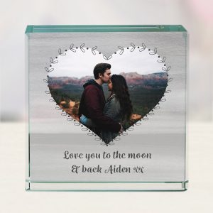 Personalised Heart Photo Upload Jade Glass Block