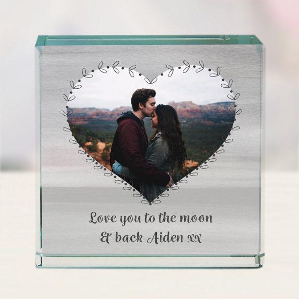 Personalised Heart Photo Upload Jade Glass Block