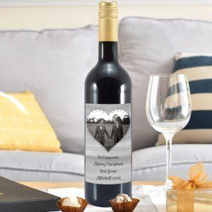 Personalised Heart Photo Upload Mulled Wine